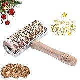 HIQE-FL 3D Holz Nudelholz,Motiv Nudelholz Weihnachten,PräGerolle Holz,Nudelholz Weihnachten Prägung,Weihnachten Teigroller aus Holz,Teigroller Weihnachten