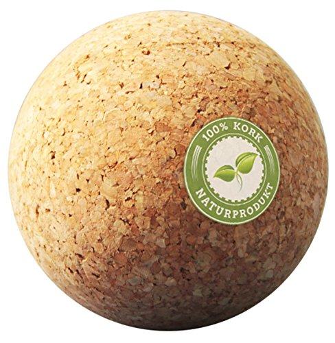 Massageball Set 5 cm Korkball, Faszienkugel Natur mit Faszien Anleitung Hilfe & Beutel für Trigger Zonen Faszienball (Triggerpunkt Faszientraining) Plantarfasziitis, Verspannungen Rücken und Schulter)