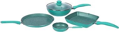 Wonderchef Turquoise Celebration Aluminium Nonstick Cookware Set, 5-Pieces, Turquoise Blue