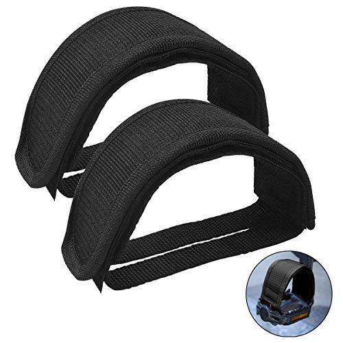 HQdeal 1 Pair Universal Bicycle Fixed Strap Anti-Slip Double Adhesive Pedal Toe Clip Strap Cycling Pedal Accessory (Black)