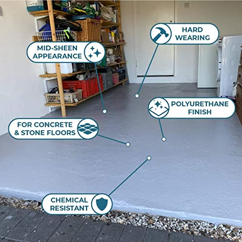 Polar Heavy Duty Garage Floor Paint 5 Litre Light Grey for Concrete and Stone Floors, High Performance Paint Protection, Hard Wearing Mid-Sheen Finish and Slip Resistant