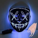 ❤【Materiale】La maschera a LED è realizzata in PVC di alta qualità e un filo EL a luce fredda che non mostra alcun danno UV. NESSUN effetto negativo sul corpo umano. Ambiente e non tossico. ❤ 【Design】 La maschera è alimentata da 2 batterie AA (non inc...