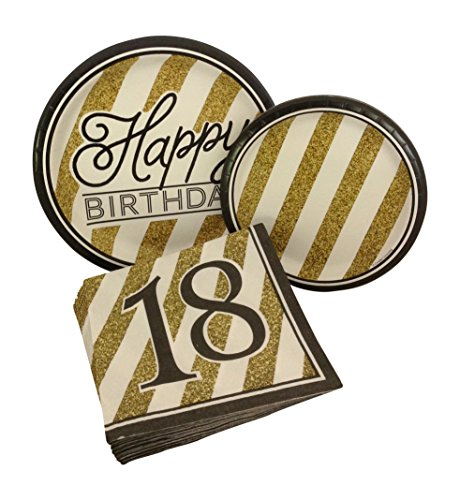 Black and Gold Happy 18th Birthday Party Bundle with Paper Plates and Napkins for 8 Guests