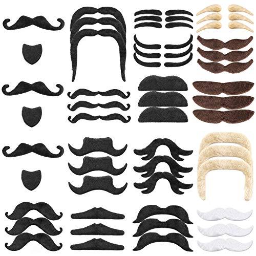 Hifot 48 Stücke Gefälschte Schnurrbärte, Selbstklebende Neuheit Gefälschte Bart für Kostüm Maskerade Halloween Party Kostüm Leistung