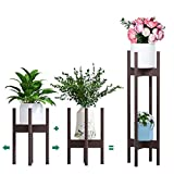 Plant Stand Pack of 2, Stackable & Adjustable Plant Stands, 2 Tier Indoor Plant Stand Tall 30'', Corner Plant Stand Indoor & Modern Plant Stands Indoor for 8-12'' Pots (Dark)