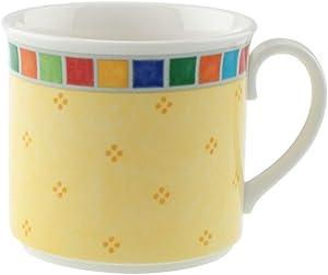 Villeroy & Boch Twist Alea Limone Breakfast Cup, 10 oz, White/Yellow