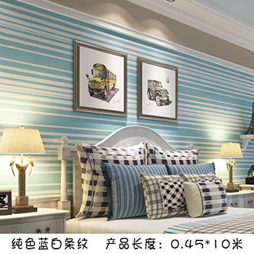 Waterdicht zelfklevend behang slaapkamer woonkamer decoratie behang meubilair muursticker 0.45m*10m Solid Blue And White Stripes