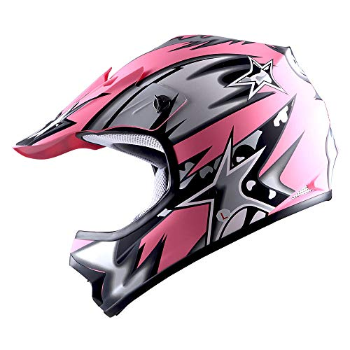 WOW Youth Kids Motocross BMX MX ATV Dirt Bike Helmet Star Matt Pink