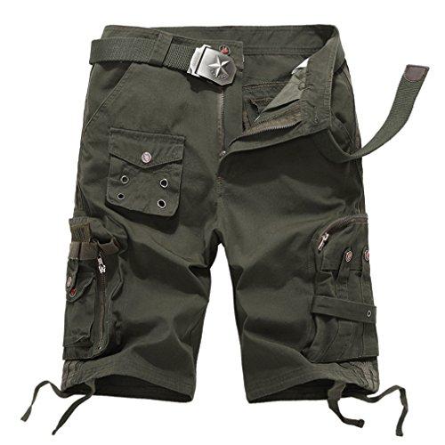 emansmoer Homme Camo Armée Militaire Combat Tactique Outdoor Shorts Coton Casual Cargo Multi-Poche Pantalon Court (Taille 33, Armée Verte)