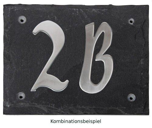 Esschert Design Set: Hausnummer 5A aus Edelstahl auf Schieferplatte (18 cm x 15 cm), Schriftbild Kreide