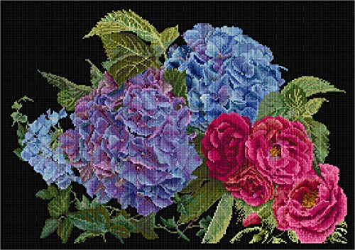 Thea Gouverneur - Counted Cross Stitch Kit - Embroidery Kit - 442.05 - Pre-Sorted DMC Threads - Hydrangea & Rose - Aida Black - 15.4 x 9.8inch - DIY Kit