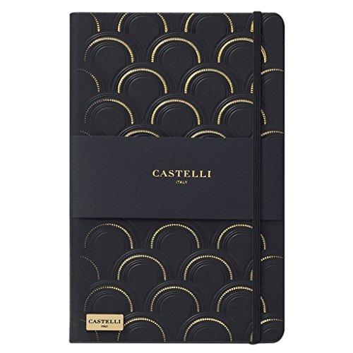 Castelli Italienisches schwarz & gold Kollektion liniert Notebook Fachzeitschriften Art Deco Black & Gold