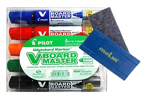 Rotuladores para pizarra V Board Master de Pilot-5 rotuladores (A,N.R.V,NA) y Borrador magnetico