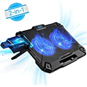 Laptop Cooling Pad Gaming, Mbuynow 2 in 1 Mini Vacuum USB Air Cooler Fan - Slim Portable - Intelligent Temperature-Control, Silencer, 8 Level Adjustable Height Stand and Phone Holder