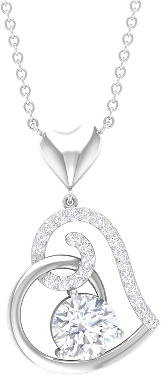 1 CT Heart Drop Pendant Necklace with Moissanite (D-VSSI Quality),14K White Gold,Moissanite