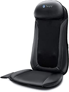 Tekjoy Back Massager Shiatsu Massaging Chair Pad Deep Tissue Rolling and Kneading Body Massage Cushion with Heat for Car Seat, Office Chair and Home Sofa, Shoulder Back and Waist Muscle Pain Relief