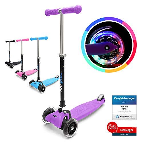 fun pro ONE - der sichere Premium Kinder Roller, LED 3 (DREI) Räder, faltbar, ab Kleinkind (Kickboard, Tretroller), für Junge und Mädchen, aus Hamburg mit erweiterter Garantie, Lila