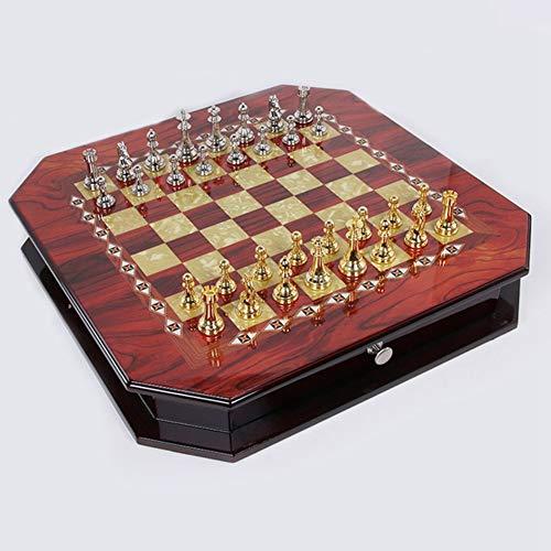 "NBALL-TT Goldene Und Silberne Schach-Set 21 ""X21 Zoll Holz-Brettspiel Magnetic Chess Handmade Crafted Chessmen Travel International Brettspiele"