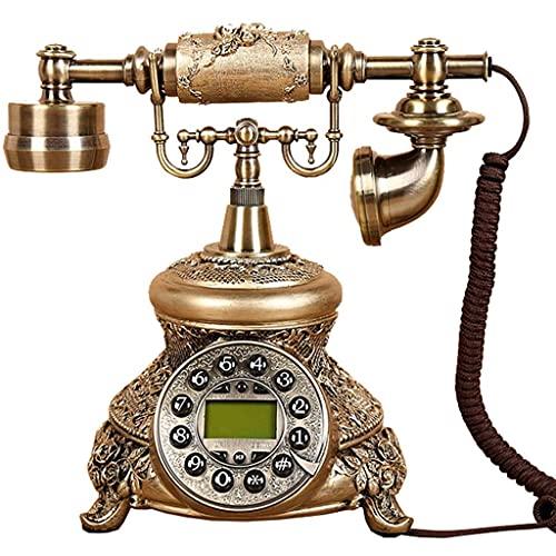 FHISD Teléfono Retro Giratorio Teléfono Retro/Botón de teléfono Antiguo Pasado de Moda/Resina + Teléfono de Metal Teléfono Fijo Teléfono Fijo de casa
