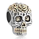 Fit Pandora Charms Silver Plated Dia De Los Muertos Skull Charm Bead (4.8-5mm), 14.9mm