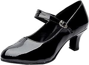 Dedo del pie Cerrado para Mujer Zapatos de Fiesta de Baile salón Tango Rumba bajo Zapatos Baile Latino para Mujeres, Zapatos Modernos y Brillantes con Fondo Suave