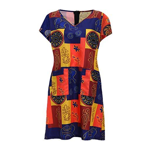 Damen Sommer ärmellose Strandkleider, Vintage O Hals Print T-Shirt Sommerkleider lose Boho A Linie Party Mini Kleid Zurück Reißverschluss Seite Zwei Tasche (Gelb, 2XL)