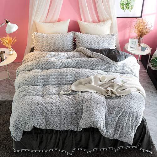 RONGXIE Rose Konijn Fluweel Prinses Beddengoed Sets Fleece Winter Warm Dekbedovertrek Samll Ball Bed rok Kussenslopen Koningin maat 4 stuks