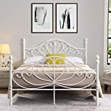 TELLINA Double Metal <span class='highlight'>Bed</span> Frame with Butterfly Headboard and Footboard (White, 141*198cm)