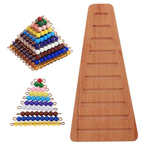 MagiDeal 10pcs Bloc Carré Perle à Nombre 1-100 Perles Construction Pyramide + 1 Set Plaque Bois Trapèze Escalier avec 1-10 Chaînes de Perles - Montessori Math Matériaux Précoce Enfants Enseignement