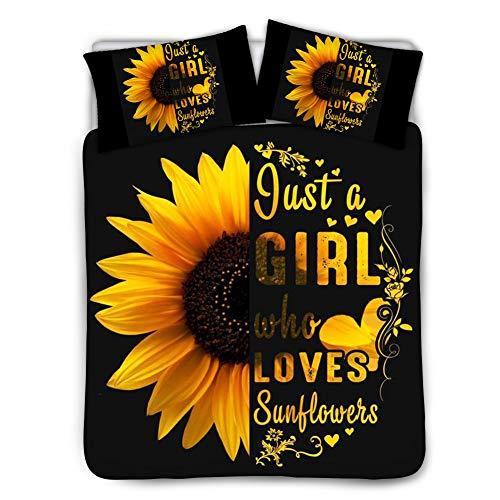 BIGCARJOB Just Girl Who Love Sonnenblumen-Bettbezug, halbes Sonnenblumen-Bettwäsche-Set, 1 Bettbezug + 2 Kissenbezüge,...