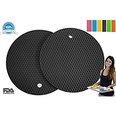Silicone Pot Holders Set of 2 Premium Heavy Duty Multipurpose Jar Opener, Trivets, Large Coaster, Spoon Rest, Flexible, Durable, Heat Resistant Mat (Black)