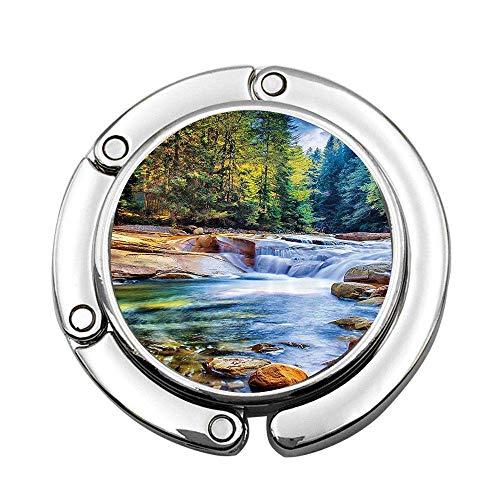 Tema de la Madre Naturaleza, Cascada en el Bosque y Piedras, impresión Personalizada, portátil, Colgante para Bolso, Mesa, Barra, moned