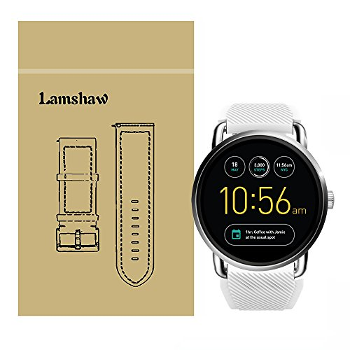 Lamshaw New Classic Silicone Replacement Straps for Fossil Q Wander Gen 1 / Gen 2 (New Silicone_White)