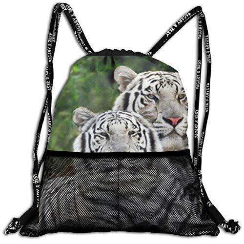 Lmtt Sac à Cordon pour Hommes/Femmes-White Tiger Couple Fashion Lightweight Sackpack Casual Bundle Backpack for Sports, Travel, Gym, Training, Yoga