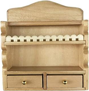 Healifty Wooden Dollhouse Furniture Kitchen Rack Toy Mini Play House Kitchen Cabinet for 1:12 Dollhouse Miniature Furnitur...
