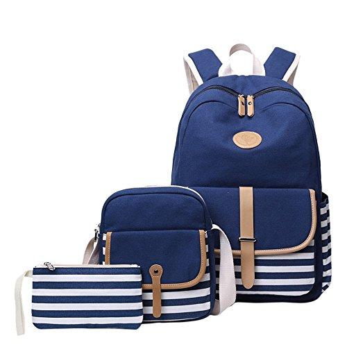 Mädchen Schulrucksack Umhängetasche und Geldbeutel 3 Tasche Set Große Kapazität Segeltuch Schultasche für Schule Outdoor Camping Ausflug(Dunkelblau)