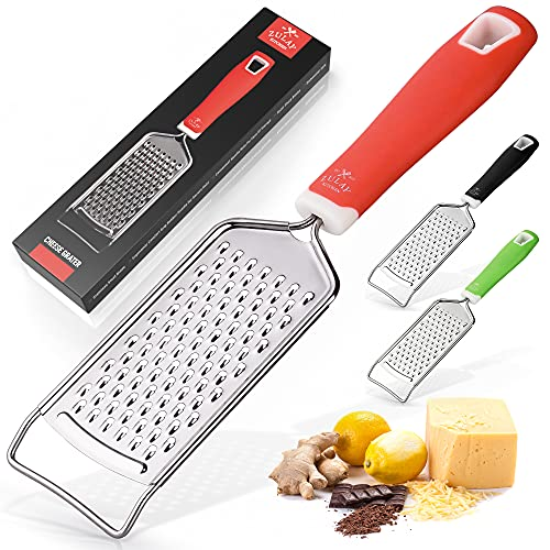 Zulay Kitchen Professional Cheese Grater Stainless Steel - Durable Rust-Proof Metal Lemon Zester Grater With Handle - Flat Handheld Grater For Cheese, Chocolate, Spices, And More - Red