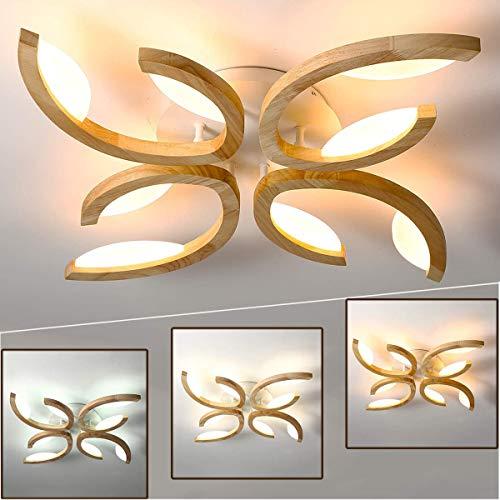 LED Holz-Deckenleuchte 4 Flammig, Dimmbar Wohnzimmerlampe, Blume Lichtbögen Schlafzimmerleuchte, Modern Deckenlampe, inkl.Fernbedienung, Weiss Acryl Lampenschirm, 72 * 8CM