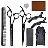 Professional Hair Scissors Set, Hair Thinning Scissors Hairdressing Shears Set with Wipe Cloth, Hair Comb, Clips, Wrench Upgraded Haircut Se(Black)