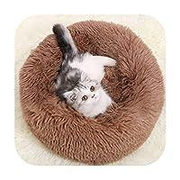 ラウンドぬいぐるみ猫ベッドハウス猫マット冬の暖かい眠っている猫の巣柔らかい長いぬいぐるみ犬のバスケットペットクッションポータブルペット用品-brown A-Diameter 70cm