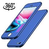 Luckydeer Coque iPhone Se / 5s / 5 et en Verre Trempé, Bleu (4,0 Pouces)