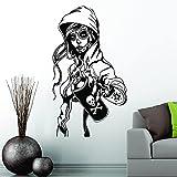 Adhesivo decorativo para pared, diseño de calavera de azúcar con graffiti y chica de Rockabilly Día Mexicano de los Muertos, 57 x 32 cm