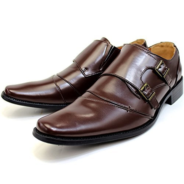 [ルミニーオ] ビジネスシューズ モンクストラップ 革靴 ブラウン 3E 紳士靴 メンズ lufo3777-br
