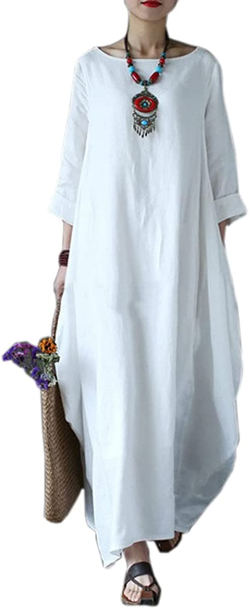 SFYT Women's Cotton and Linen Casual Long Dress Retro Loose Long Dress