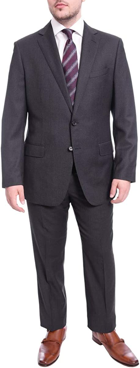 B. Jacket Classic Fit Blue Birdseye Two Button Half Canvassed Reda Wool Suit