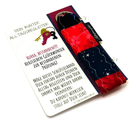 Lieblingsmanufaktur Farbenfroher Schlüsselanhänger als Geschenk zur bestandenen Prüfung – individuelle Geschenkidee und Mitfreuen für Absolventen z.B. zu Studienabschluss, Meister, Examen