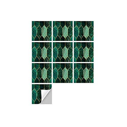 Hiseng 10 Piezas Adhesivos Decorativos para Azulejos Pegatinas para Baldosas del Baño/Cocina Estilo Retro de Lujo Simple Resistente al Agua Pegatina de Pared (Diamante Esmeralda,15x15cm)