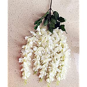 "Silk Flower Arrangements Artificial and Dried Flower Thai Orchid Chlorophytum 65cm/25.59"" Length Artificial Flowers Freesia Bracketplant 5 St for Wedding Centerpiece - ( Color: Cream )"