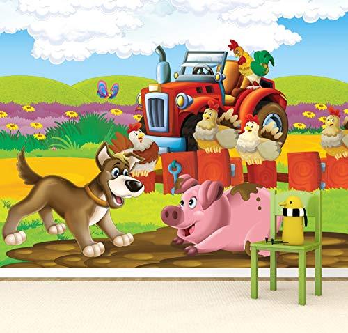 Vlies Tapete Poster Fototapete Kinderzimmer Kleiner roter Traktor Farbe color, Größe 140 x 100 cm