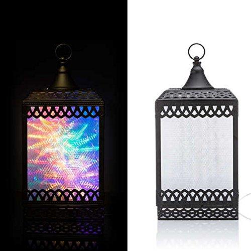 DbKW Schwarze Hologramm Laterne mit Motor und LED Farbwechsel